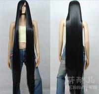 perruque de cheveux longs achat en gros de-Beauté européenne COS faux cheveux noir long cheveux raides 150cm frange oblique un mètre cinq perruque ~ spot