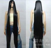 peruca de cabelo longo falso venda por atacado-Beleza Europeia COS falso cabelo preto longo e reto cabelo 150 cm franja oblíqua um metro cinco peruca ~ local