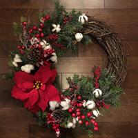 artificial flowers arrangements großhandel-Cilected-Weihnachtskranz-Tür, die künstliche Pflanzen-Rattan-Kreis-Wand-Dekorations-Simulations-gefälschte Blumen-Hochzeits-Anordnung hängt