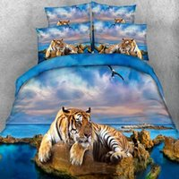Wholesale 3d bedding set beaches for sale - Group buy 3D Beach and tiger Pattern printing bedding sets Home Textile Single Twin Full King Size