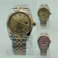 paar quarz armbanduhren großhandel-Heißer verkauf luxus paare stil edelstahl diamant uhr männer 36mm frauen 32mm hochwertige quarzuhr designer uhren armbanduhren