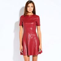 Wholesale red leather sleeve shirt resale online – Hot Sale Women Fashion Leather Dress A line O neck Black Dresses Casual Mini Dress Short Sleeve Sexy Autumn Vestidos Pu Dress