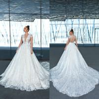 Wholesale wedding dress sparkle crystal white resale online - 2020 Crystal Design A Line Wedding Dresses Beaded Sequins Appliqued Short Sleeve V Neck Sparkling Bridal Gowns Custom Made Abiti Da Sposa