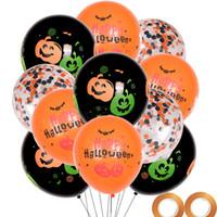 decorações set crianças venda por atacado-Decoração do dia das bruxas Balão de Látex Partido Crianças Jogos Arranjo Palavra Festa Abóbora Impressão Festival Conjunto 20 bolas + 5 fitas LJJA3046
