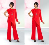 ingrosso vestiti di donna dei grooms-Bright Red Madre elegante degli abiti da sposa Progettato una spalla chiffon madre dello sposo Abiti pantaloni tuta Donne Abiti casual BC1024