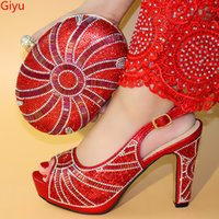 bayanlar ayakkabı çanta takımları toptan satış-2019 Yeni Coming Office Lady kırmızı İtalyan Tasarımcı Ayakkabı Ve Çanta Eşleşen Çanta Set Ile Maç Için Afrika Parti Ayakkabı Set LO1-53