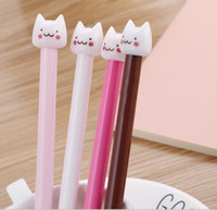 pluma coreana gel ink set al por mayor-Cute cartoon animal cat style colorful gel-ink pen set kawaii korean stationery office school supplies gel pen 60pcs / lot 100pcs / lot WL178