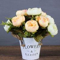 peônias roxas de seda venda por atacado-Roxo rosa grande peônia flores artificiais elegante bonito falso flores de seda peônias de casamento decoração de festa em casa de casamento