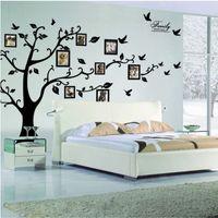 sticker arbre noir achat en gros de-Autocollant 3D sur le mur noir Art cadre photo mémoire arbre Stickers muraux Home Decor arbre généalogique Sticker mural