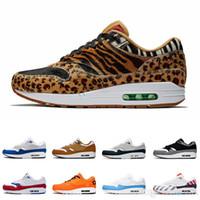 zapatillas de leopardo al por mayor-DLX ATMOS 1 87 Parra Sean wotherspoon Air Blue Hombre Calzado de running Animal Pack 1s 87s Leopard Classic Athletic Mujer Zapatillas de deporte