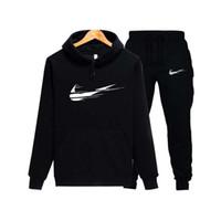kadınlar için marka spor kıyafeti toptan satış-Polar Kapüşonlu Kazak Moda Marka Hoodies Tişörtü + Sweatpants Kazak Erkekler / Kadınlar Hoodie Eşofman Spor Takım Elbise