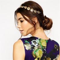 Wholesale flower metal headband resale online - Cheap New Bohemian Gold Silver Women Metal Head Chain Headpieces Hair Jewelry Forehead Dance Headband Piece Wedding Accessories Hippie Crown