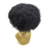 indian, cabelo, homens, toupee venda por atacado-Laço francês Rendas frente PU voltar Base Afro peruca peruca dos homens indianos remy cabelo humano Afro encaracolado peruca 8x10 polegadas para homens negros