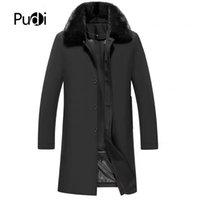 revestimento de revestimento de inverno removível venda por atacado-Pudi MT917 homens jaqueta Médio longo Memória tecido de seda jaqueta gola gola forro removível inverno quente outwear