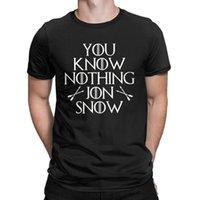 neve do jon camiseta venda por atacado-T-shirts Você Não Sabe Nada Jon Casa De Neve De Stark T Shirt Homens Mais Novo Roupas Novidade 100% Algodão Camiseta