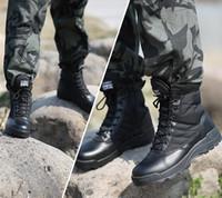 ingrosso scarponi da caccia di montagna-Scarpe da trekking da esterno Stivali tattici da combattimento di colore nero Leggero scarpe da caccia traspiranti per gli uomini che si arrampicano sugli scarponi da montagna