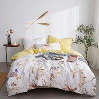 çiçekli kral boy yatak örtüleri toptan satış-Lüks Mısır pamuk Saten yatak seti beyaz sarı çiçek baskı kraliçe yatak örtüsü yatak örtüsü pastoral yatak örtüleri