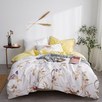 gelbe königin bettwäsche großhandel-Luxus ägyptischer Baumwolle Satin Bettwäsche Set weiß gelb Blumendruck Queen-Size-Bettwäsche Tagesdecke pastorale Bettwäsche