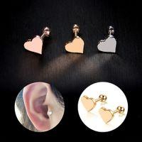 губная серьга пирсинг оптовых-2Pcs Punk Heart Mini Ear Piercing Lip Body Labret Cartilage Helix Barbell Bar Earrings Surgical Steel Ear Studs Piercing Jewelry