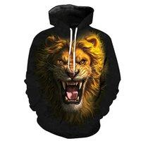 löwe könig kapuzenpulli sweatshirt großhandel-Männer Hoodie Lion King Kopf 3D Grafik Voll Gedruckt Mann Mit Kapuze Sweatshirt Unisex Lässige Pullover Hoodies Mit Langen Ärmeln Sweatshirts Tops (R2406)