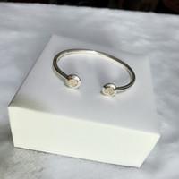 braceletes de pulseira de ouro 14k para mulheres venda por atacado-Clássico das mulheres design Real 14 K Gold Disc Cuff Bangle caixa Original para Pandora 925 Sterling Silvere Pulseira Mulheres Jóias Presente