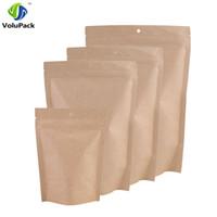 çantaları kapat toptan satış-100pcs 10x15cm / 12x20cm Mylar Folyo Kahverengi Kraft Kağıt Gıda Çay Saklama Torbası Kilit asın Delikli Paket Bags Stand Up Zip