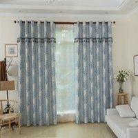 schwarze blaue blumen großhandel-Vorhänge für Wohn-Esszimmer Schlafzimmer American Country Moderne Minimalist Kationische Jacquard Vorhang Rich-Baum-Blume