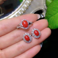 piedras preciosas de coral rojo al por mayor-El popular anillo de piedras preciosas de coral rojo y los aretes de joyas con plata para mujeres 2