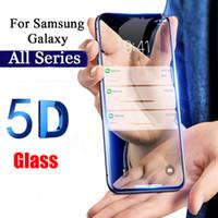 galaxy note protector mate al por mayor-5D cubierta completa de vidrio templado para Samsung Galaxy A7 2018 A750 A8 A8 Plus A6 A6 Plus A3 A5 A7 2017 Protector de pantalla de cine
