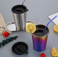 blaue teetassen großhandel-500ML Edelstahl-Kaffeetassen 6 Farben mit Metall-Stroh Lids Outdoor-Camping-Reise-Becher Saft trinken Tee Bierwagen Cups 50pcs OOA5831