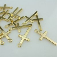 takı aksesuarları toptan satış-14664 40 ADET Alaşım Altın Mini Basit Çapraz Kolye Charm Takı Moda Takı Aksesuar DIY Kolye Parçası