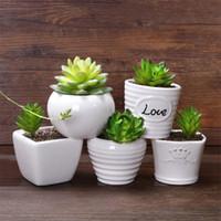 ingrosso piante in vaso bianco-Piante grasse Piante carnose Colore bianco Ceramica Semplicità Moda Mini Flowerpot Office Decorazione da scrivania Nuovo arrivo