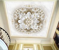 Wholesale three dimensional wallpapers resale online - Custom D Photo Wallpaper D Romantic Embossed three dimensional classical flower marble D Ceiling Wall Papers Home Decor