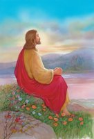 Wholesale rock paintings resale online - Jesus sitting on a rock praying Home Decor Handpainted HD Print Oil Painting On Canvas Wall Art Canvas Pictures