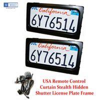 2 Plates Set US Hide-Away Shutter Cover Up Electric Stealth License Plate Frame Remote Kit DHL Fedex UPS