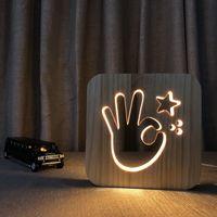 ingrosso lampade in legno-Creative LED Night Light in legno OK Design Luminaria Fashion Wood Night Lamp per bambini Camera da letto Light