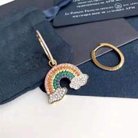18k reine gold-sets großhandel-925 reines Silber, besetzt mit Golddiamant-Regenbogen-dn-apm-Ohrringen mit asymmetrischen Wolken