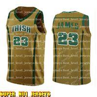 camisetas amarillas de baloncesto al por mayor-23 LeBron Secundaria Jersey para hombre Blanco Verde Amarillo barato al por mayor de baloncesto jerseys bordado Logos HigzxcknzbA