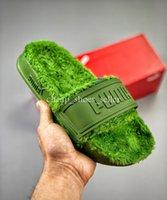 sandalias de oliva al por mayor-2019SS Diseñador de lujo para mujer para hombre 2019 Verano Verde oliva Sandalias Playa Diapositiva Moda mujer Fenty Rihanna Zapatillas de piel Zapatos de mujer planos