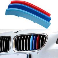 ingrosso coperture per paraurti auto-3 pz Velocità Dell'aria Auto 3D M Styling Griglia Anteriore Trim Bumper Strip Cover Sticker per BMW 5 Serie F10 2014-2017 Accessori Auto