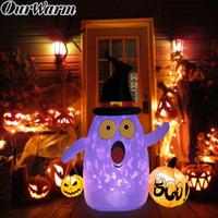 aufblasbares dekorationlicht für partei groihandel-OurWarm Halloween 5ft LED beleuchteter aufblasbarer Kürbis-Geist-Dekoration im Freien Yard Inflatables Partei DIY Supplies