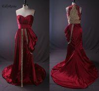 robe de soirée or rouge foncé achat en gros de-Or et rouge foncé arabe robes de soirée formelles vraies photos broderie perles perles robe de soirée sirène plissée robes de soirée