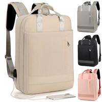 15 inç dizüstü bilgisayar çantası toptan satış-14 15 15.4 15.6 inç USB arayüzü ile Su Geçirmez Laptop Notebook Çantaları Sırt Çantası Kılıf Erkekler Kadınlar için Okul Seyahat