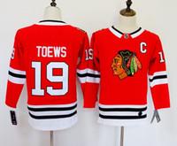 eis hockey leer jersey s großhandel-Chicago Blackhawks Trikots 88 Patrick Kane Trikots 19 Jonathan Toews Blank Home Red Kinder-Eishockeytrikot Männer Frauen Jugend Damen Jungen Mädchen