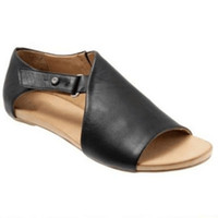 черные туфли на каблуке черные оптовых-STAN  Plus Size 36-43 Women Casual Black Sandals Ladies Mature Concise Summer Beach Shoes Woman Low Heels Zapatos mujer