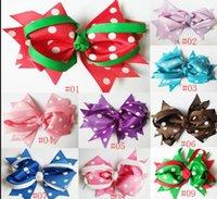 zurück schulklammern großhandel-Baby Mädchen HairBows Polka Dot Bowknot Haarschleife mit Clip Haarschmuck Geschenk für Back to School Jubel Bogen einfarbig Ribbon Bow