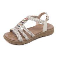 ingrosso sandali in cinturino alla caviglia in rilievo-Sandali da donna Corda di canapa tessitura Perline Sandali piatti a punta Comfort Beach Buckle Strap Walking Shoes