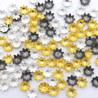 Wholesale petal bead caps online - 100Pcs Mixed Petals Flower Metal Beads End Caps for Jewelry Making Finding Diy Accessories Component Needlework