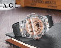 прозрачные кварцевые мужчины оптовых-Новый модный бренд мужские часы прозрачный ремешок Спорт на открытом воздухе кварцевый большой циферблат календарь часы роскошные часы все суб работы