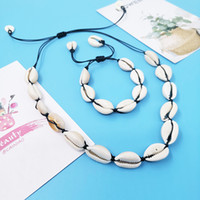 Wholesale set jewerly necklaces resale online - Handmade Sea Shell Charm necklace and bracelet set Natural material Adjustable Style Beach Jewerly accessories gift for women man unisex